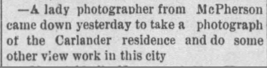 Notice of lady photographer from McPherson, Kansas