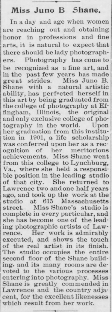 1904 notice about Juno B Shane, lady photographer