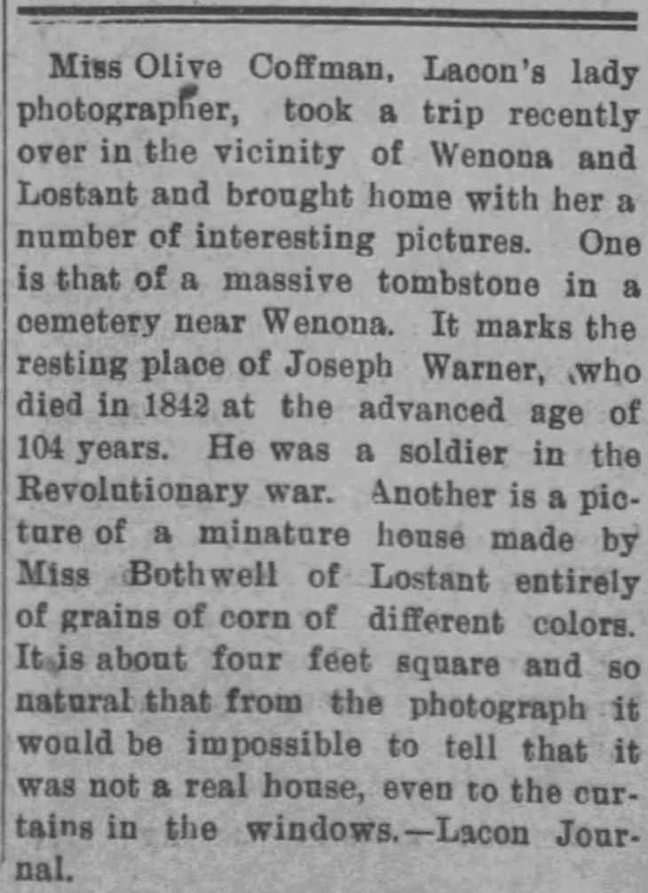 Article about Olive Coffman lady photographer