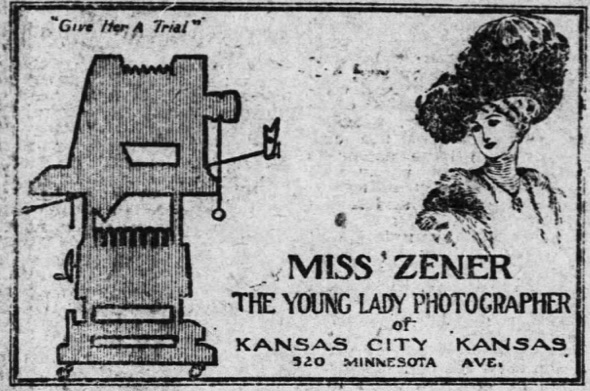 ad for Miss Zener young lady photographer