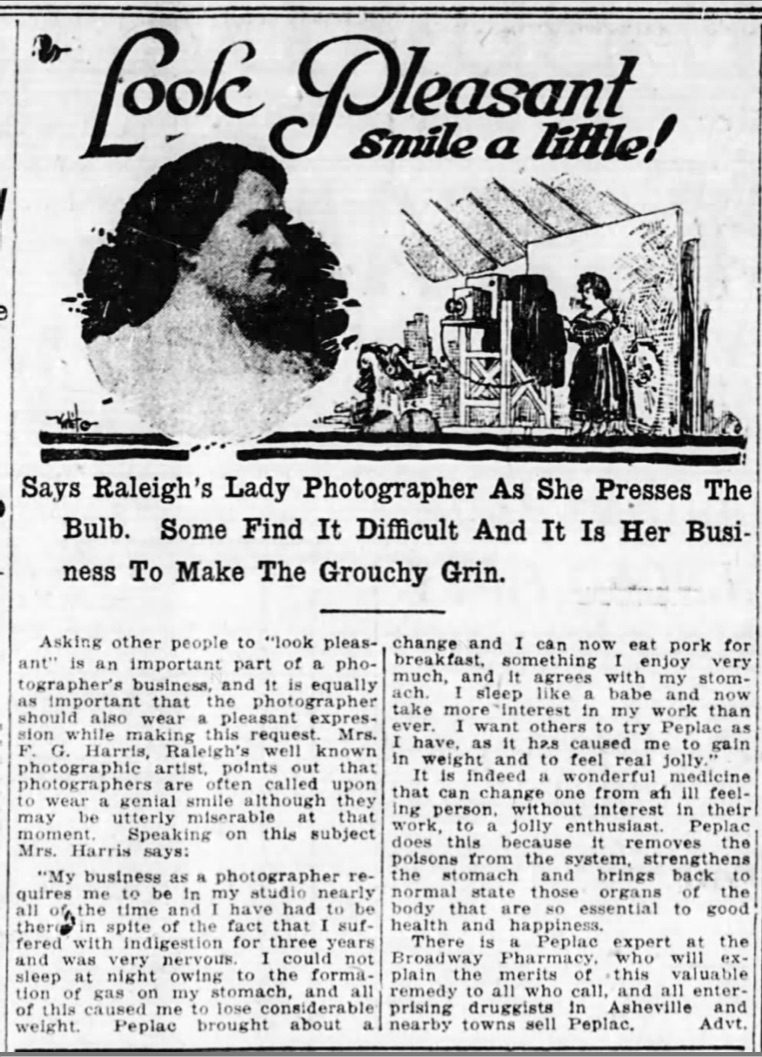 1918 Peplac ad featuring lady photographer Mrs. F.G. Harris