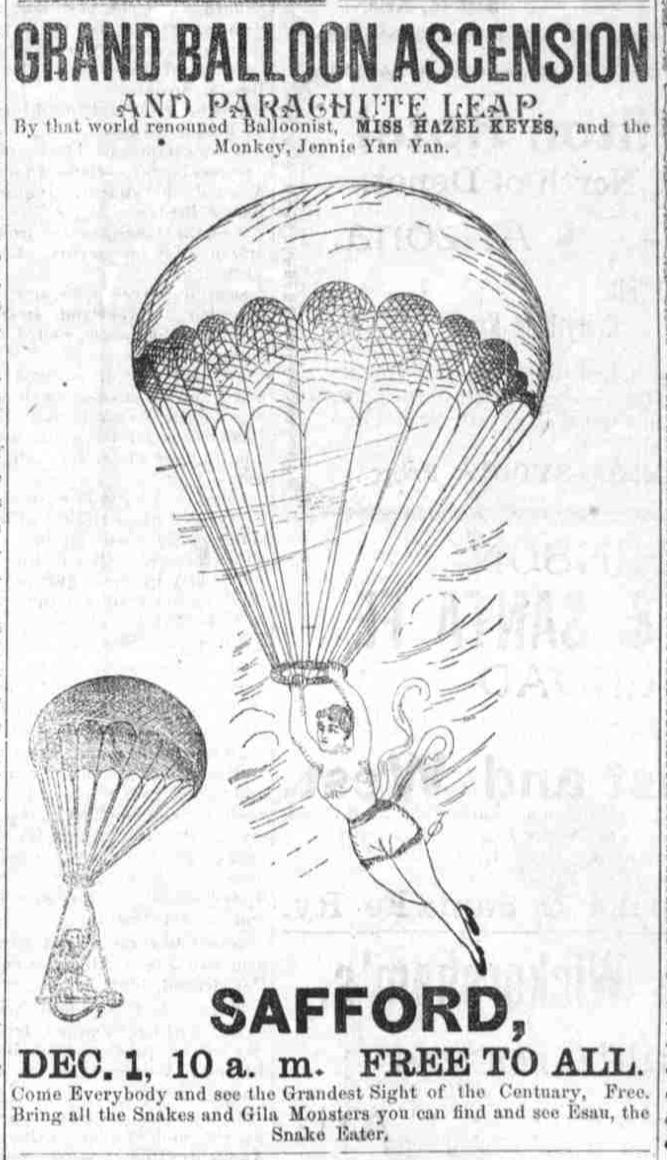 Miss Hazel Keyes balloonist ad