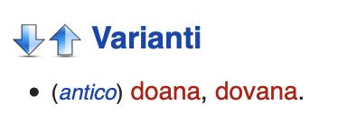 dovana as variant of dogana in Italian Wiktionary